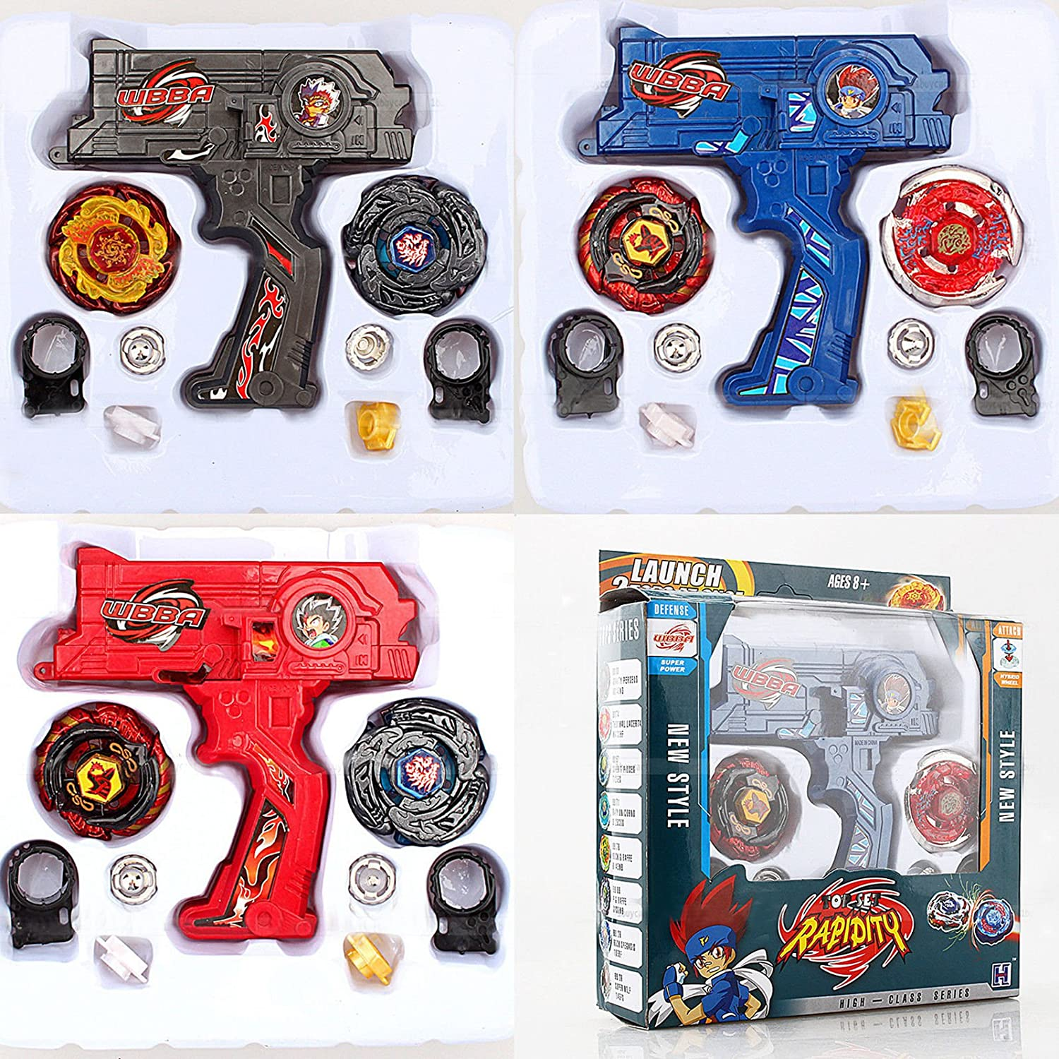 MonkeyJack Black 4D Battling Spinning Tops Set Metal Fusion Rapidity Fight Master Dual Launcher Toy Kit