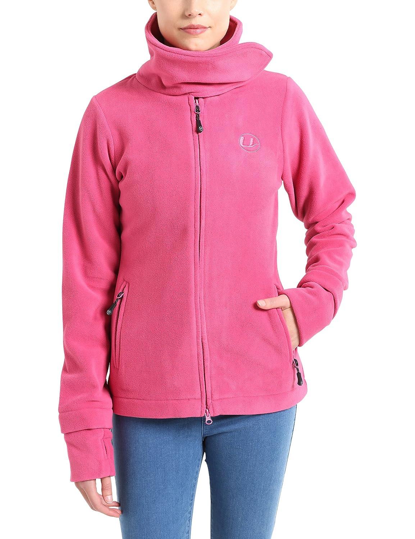 X-Small Ultrasport Womens Micro Fleece Jacket Marla with Large Collar-Blue