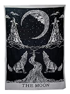 raajsee Crying Wolf and Moon Tapestry Wall Hanging, Indian Cotton Black and White Moon Tapestries Hippie Mandala, Boho Bedding Bohemian Bedspread, Yoga Mat Meditation Rugs 54x84 inches