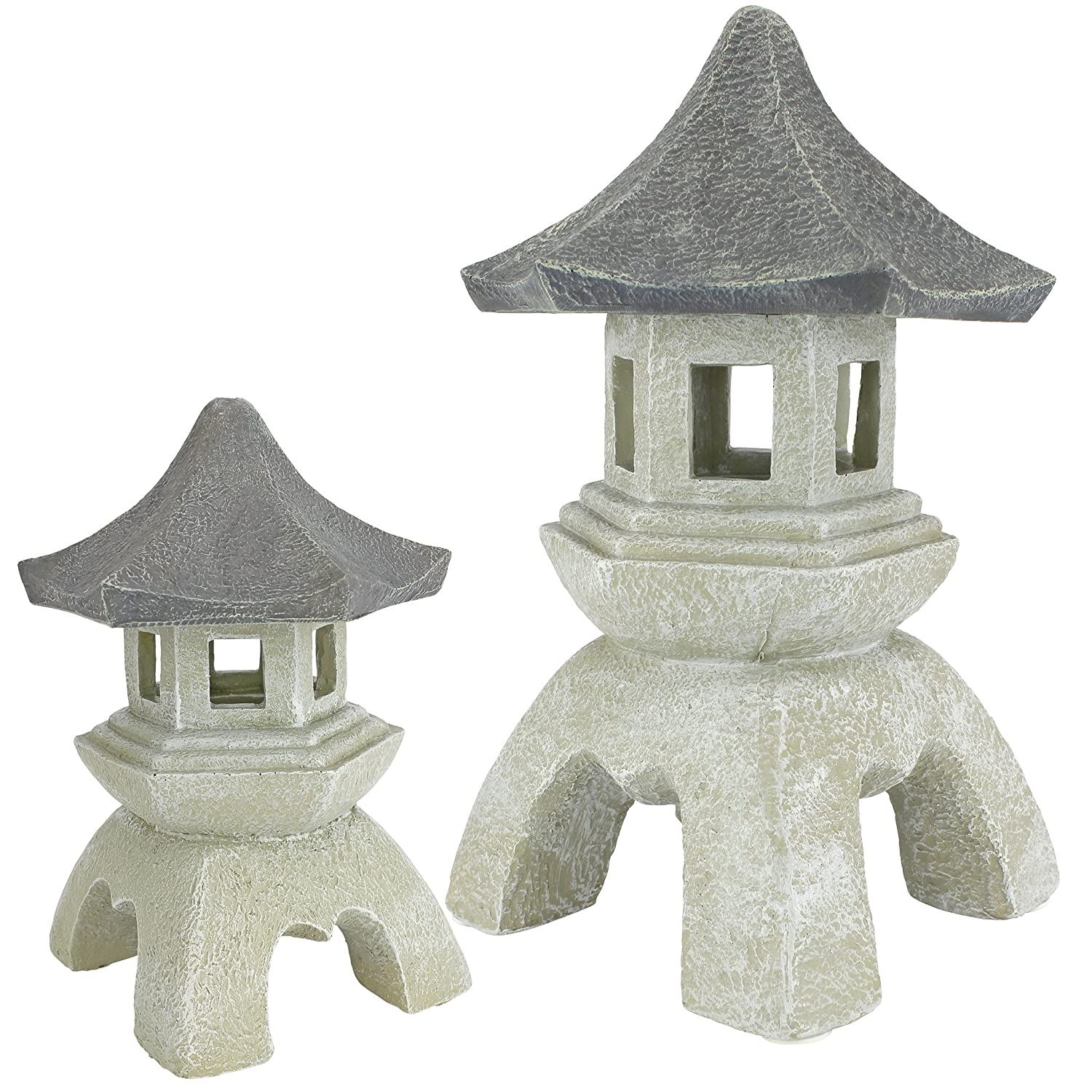 Japanese Pagoda Lantern Sculptures, Set of 2
