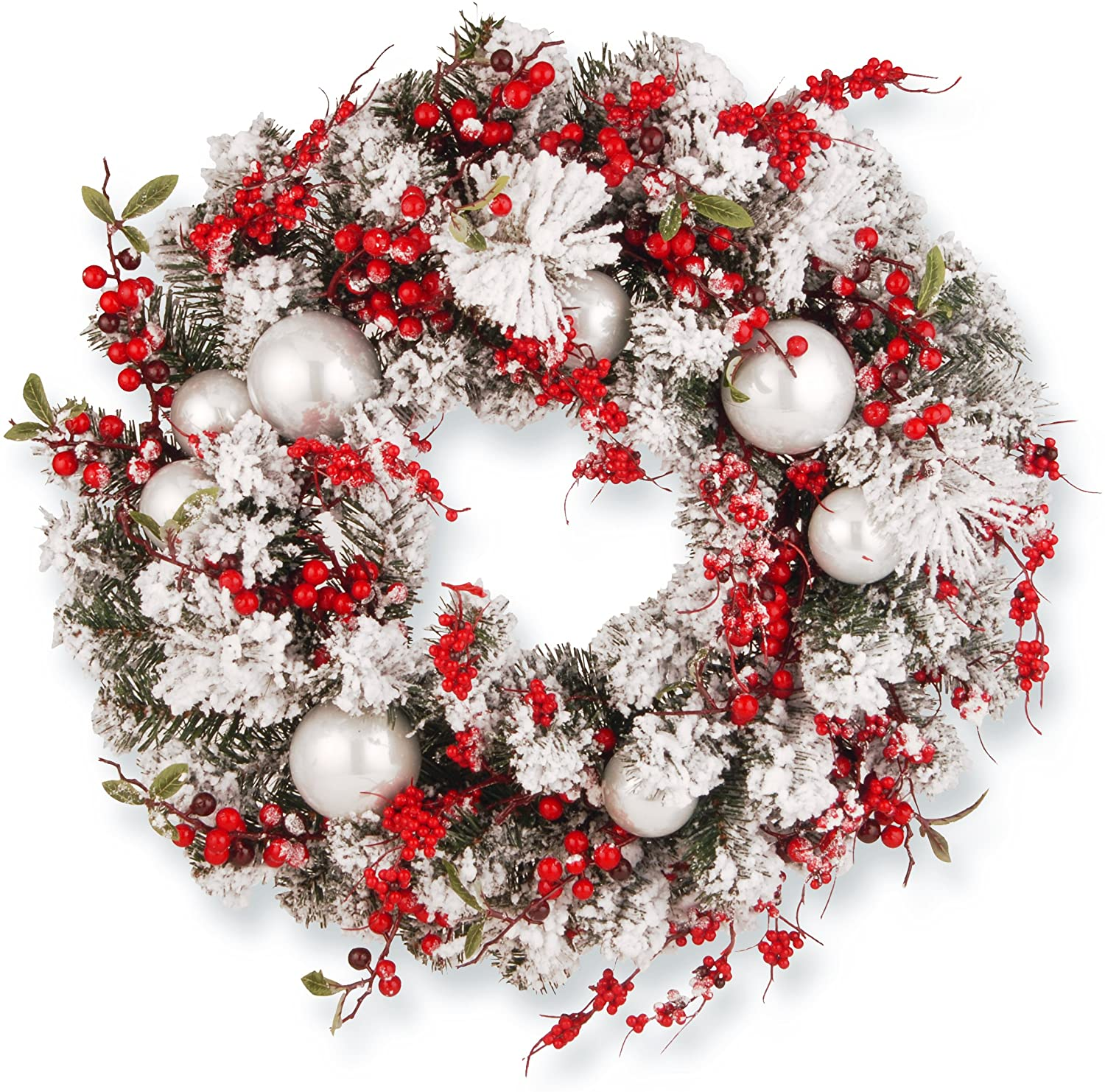 National Tree 24 Inch Christmas Wreath with Red and White Ornaments