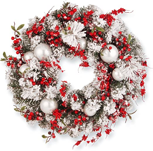 National Tree Company Artificial Christmas Wreath Flocked Red And White Mixed Decorations Holiday 24 Inch Amazon Co Uk Kitchen Home