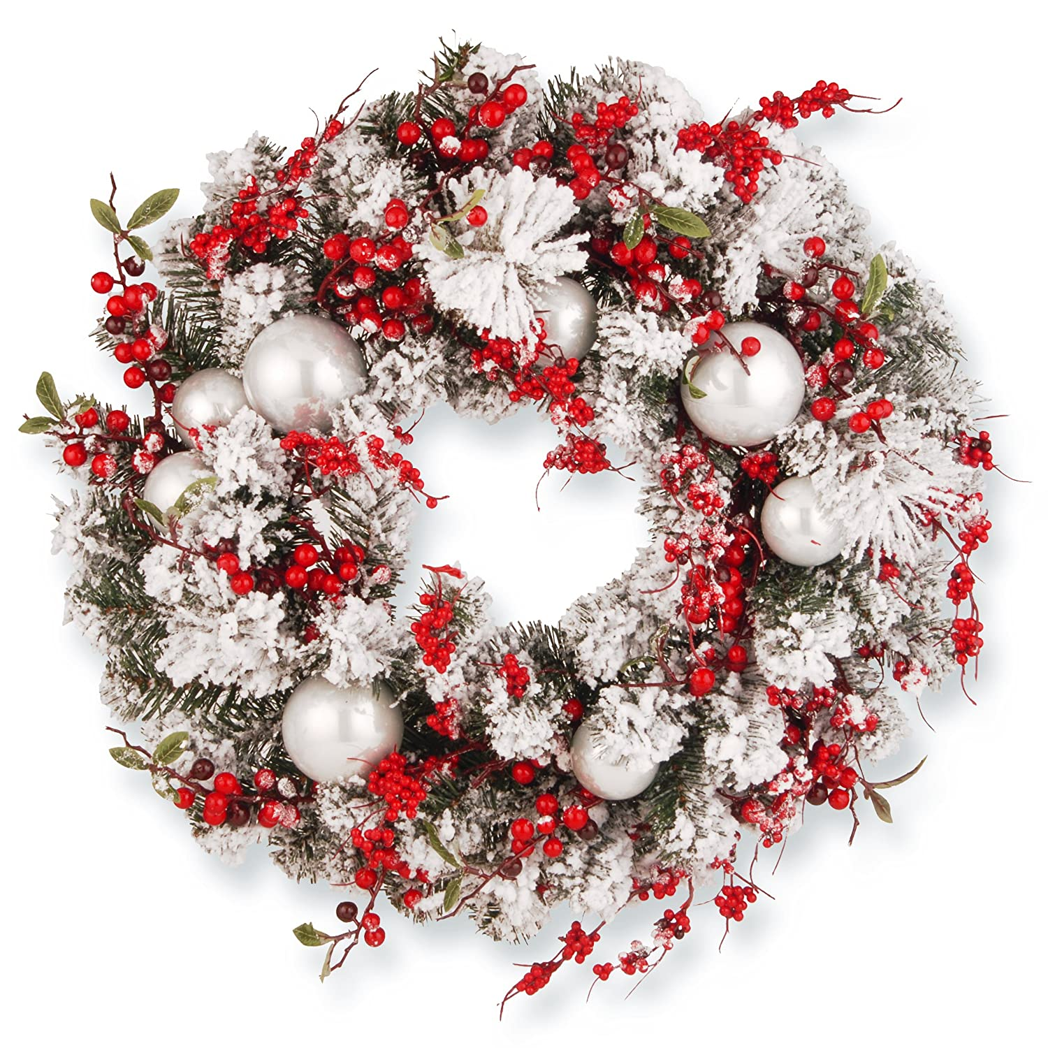 Red And White Christmas Wreath.National Tree 24 Inch Christmas Wreath With Red And White Ornaments Rac J501x24