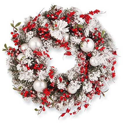 Amazoncom National Tree 24 Inch Christmas Wreath With Red And