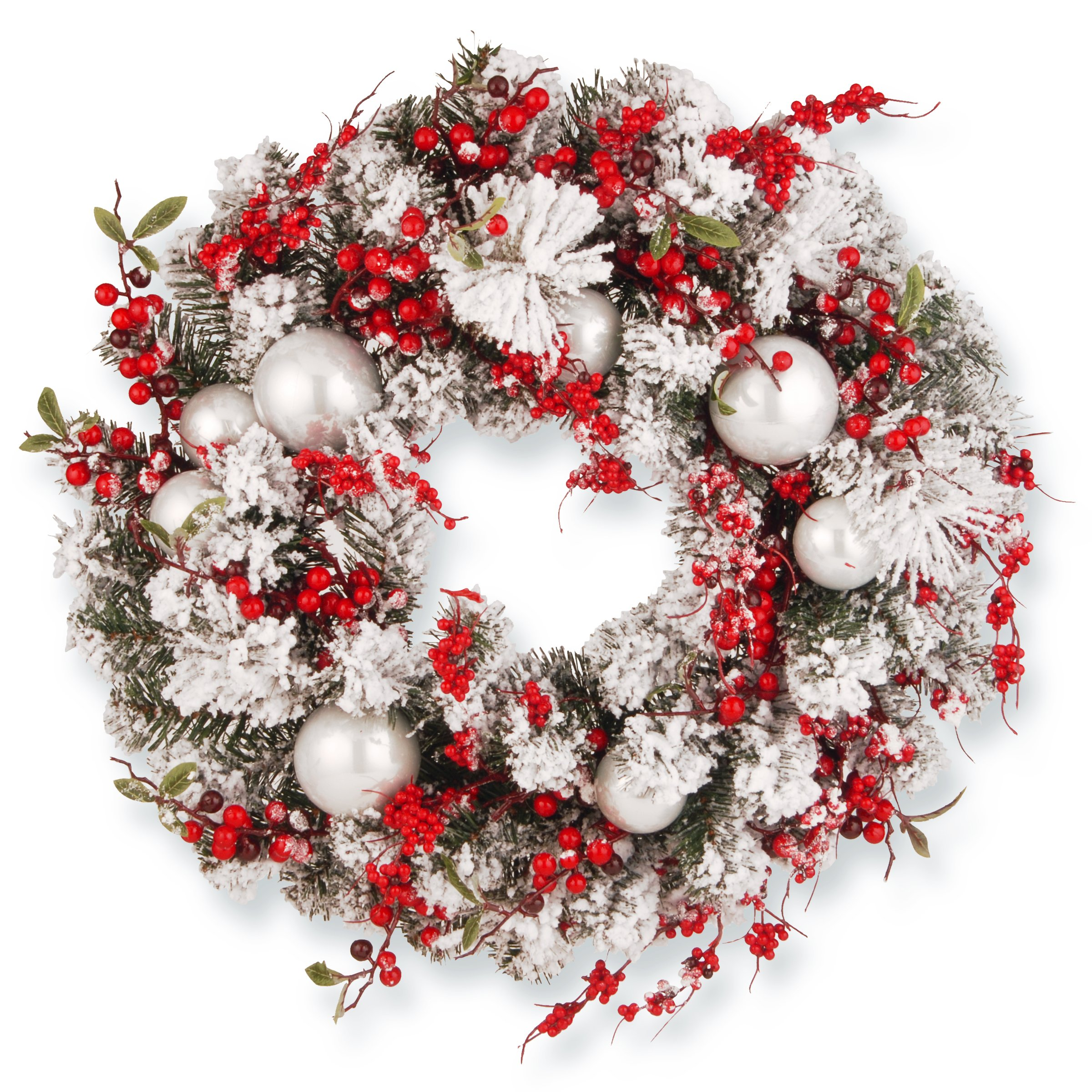 National Tree 24 Inch Christmas Wreath with Red and White Ornaments (RAC-J501X24)