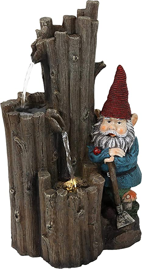Balcony and Landscaping 16-Inch Exterior Standing Water Feature Corded Electric Yard Ideal for Deck Sunnydaze Fire Hydrant Gnomes Outdoor Water Fountain with LED Light