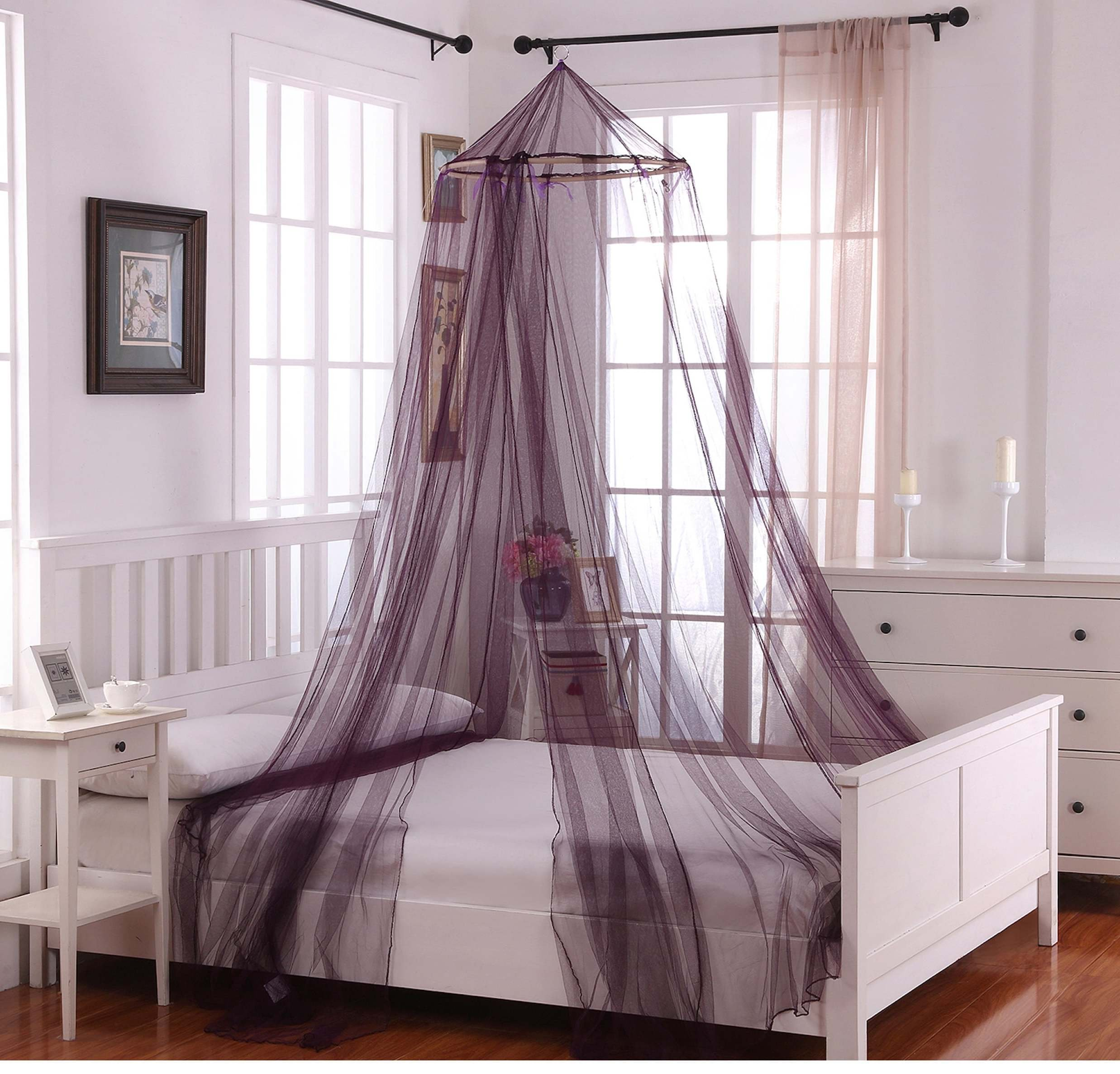 1 Piece Purple Round Hoop Bed Canopy, Mosquito Netting Themed Calm Whimsical, Elegant Fantasy Whimsical Stylish Fun Cute Stylish Draping Relaxing, Polyester, Wood
