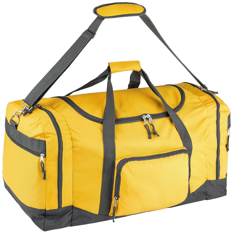 TecTake Sac de sport sac de voyage avec bandoulière 90L 70x35x35cm - diverses couleurs au choix - (Jaune fmPrPR