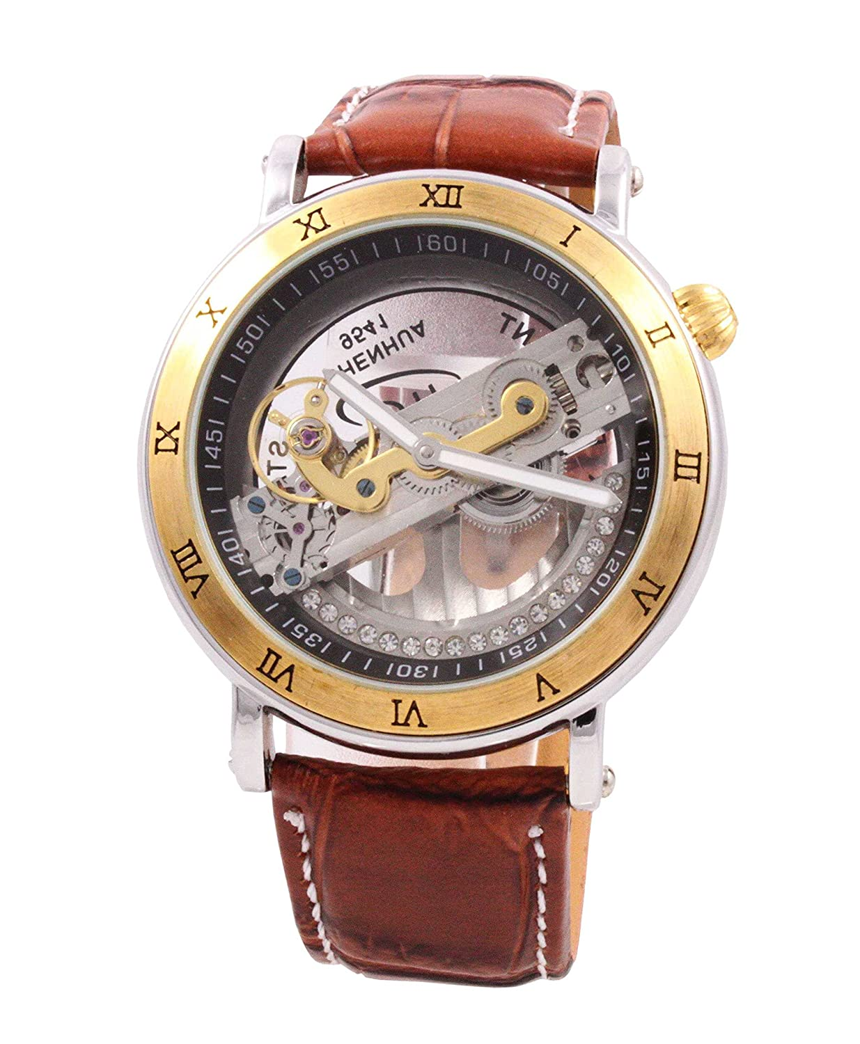 Amazon.com: Mens Mechanical Watch Steampunk Skeleton Dial Brown Leather Band Automatic Wacht for Men AMW-83: Watches