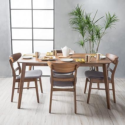 Helen Mid Century Fabric U0026 Wood Finish 5 Piece Dining Set (Walnut/Dark Grey
