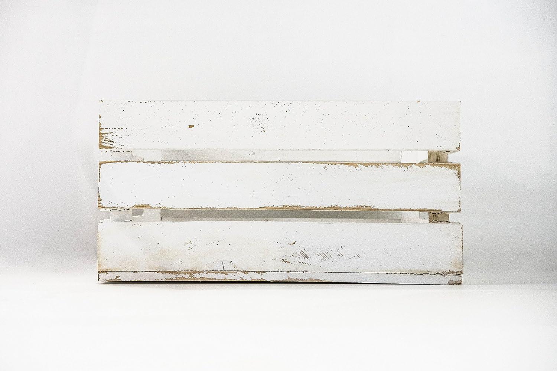 Caja de Madera de Fruta Blanco Vintage Sam, Cajas Tipo Fruta, Madera de Pino, Blanco Vintage, 49,5x32x25.5cm. (1 Caja) Contiene Imán Personalizable de Madera.: Amazon.es: Hogar