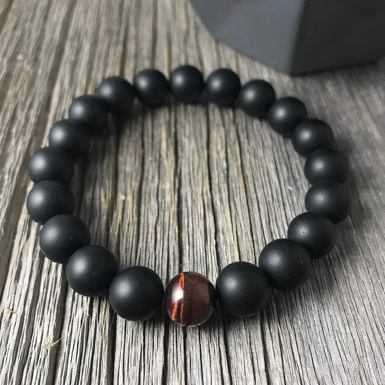 Matte Onyx and Single Red Tiger Eye Stretch Bracelet