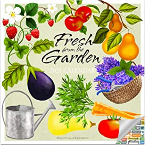 Fresh from The Garden Grown Calendar 2021 Bundle - Deluxe 2021 Gardening Wall Calendar with Over 100 Calendar Stickers