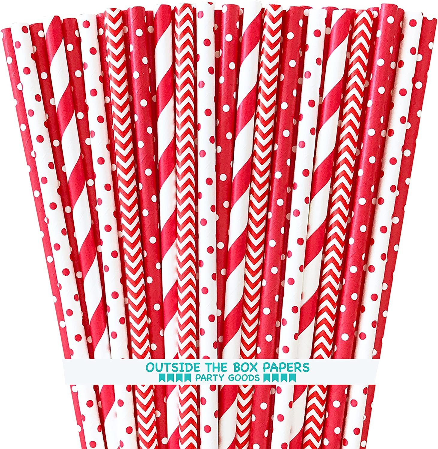 Paper Drinking Straws - Red and White - Stripe Chevron Polka Dot - 7.75 Inches - 100 Pack Outside the Box Papers Brand