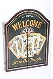 """point-home armoire à jeu de fléchettes, jeu de fléchettes, cible pour jeu de fléchettes, style rétro """"Welcome"""""""