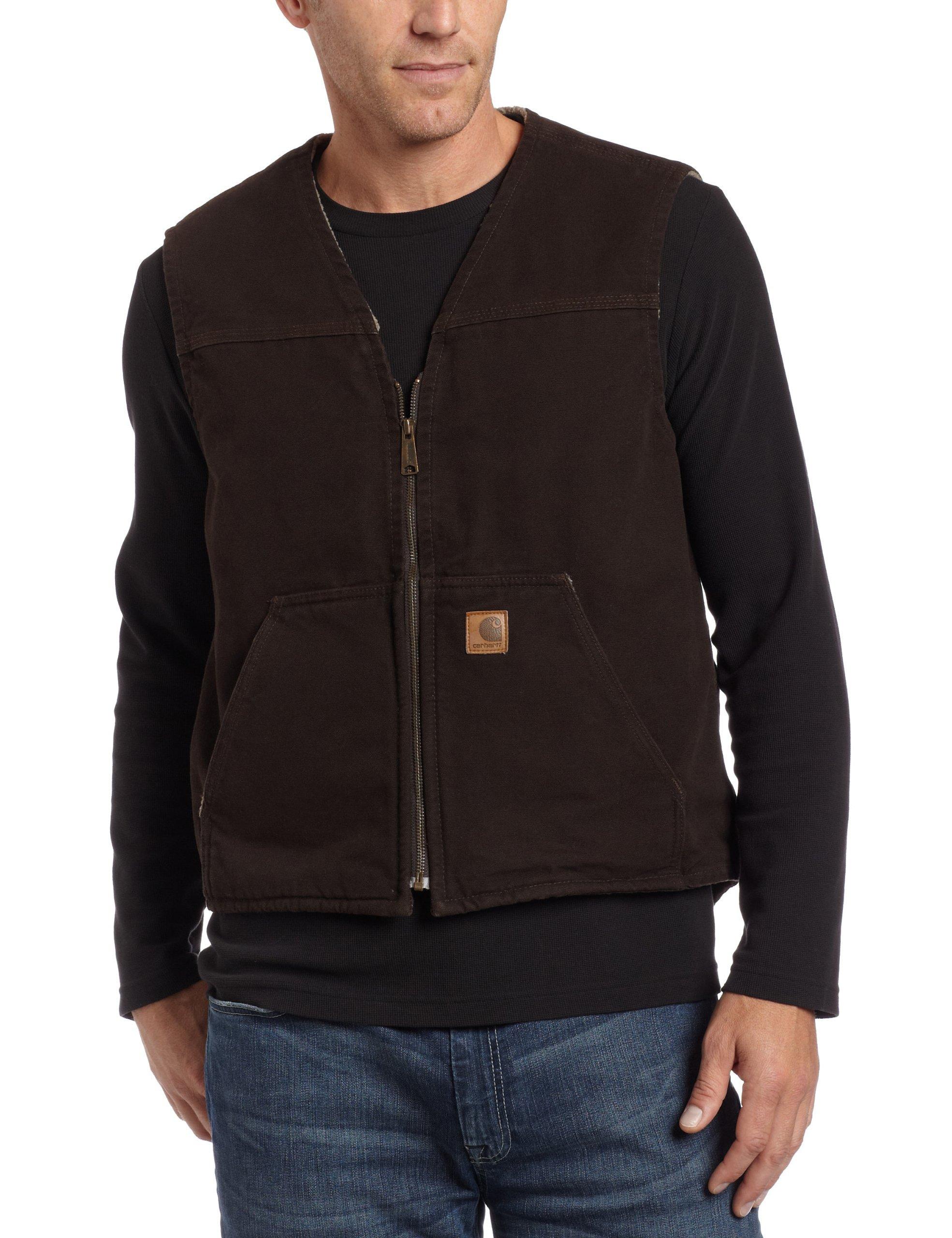 Carhartt Men's Big & Tall Sherpa Lined Sandstone Rugged Vest V26,Dark Brown,XX-Large Tall