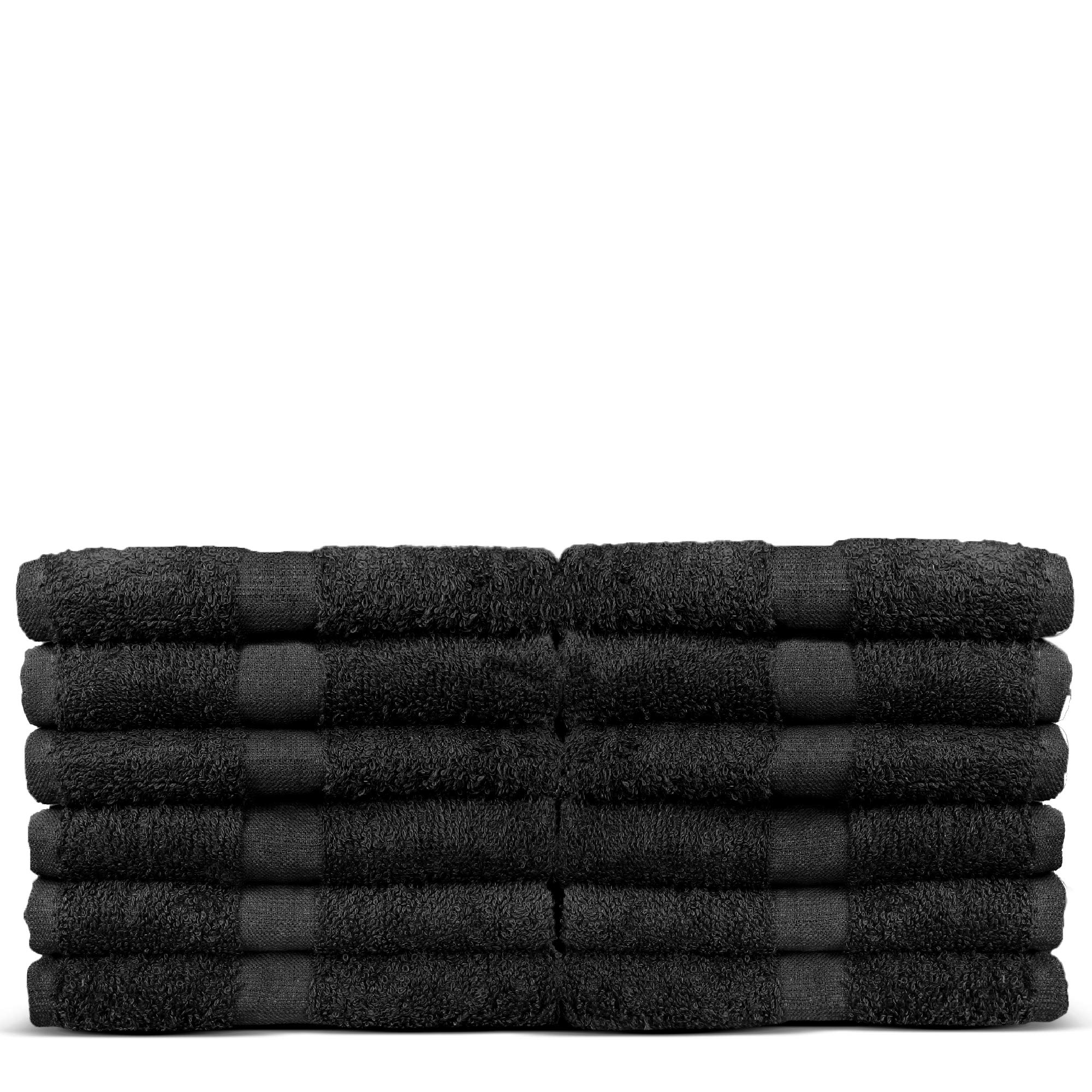 100% Cotton Salon, Hair Drying Towels - Soft and high Absorbent - 16 x 27 inches - 12 - Pack (Salon Towel - Set of 12, Black)