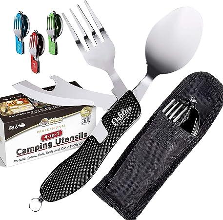 Orblue Utensilios de camping 4 en 1, paquete de 2, cuchara portátil de acero inoxidable, tenedor, cuchillo y abridor de botellas, juego combinado – ...