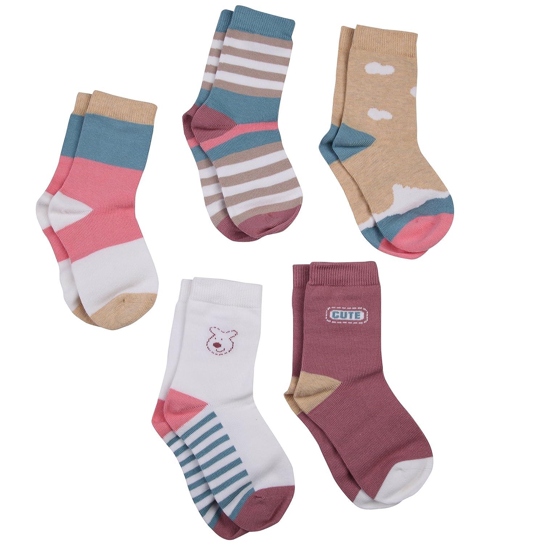 Vera Nuka Toddler 5 Pack Combed Cotton Socks
