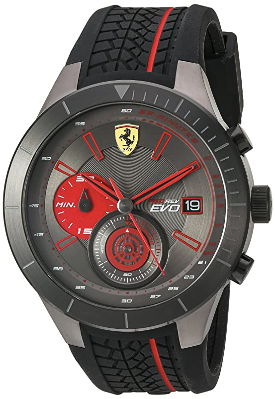 Ferrari Men's Quartz Stainless Steel and Silicone Watch, Color:Black (Model: 830341) Men at amazon