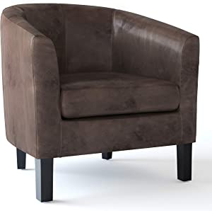 SIMPLIHOME Austin 30 inch Wide Transitional Tub Chair in Distressed Brown Faux Air Leather