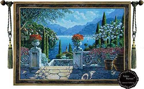 Fabric Bureau Lake Como Italy SIZE 30 X43 Fine Tapestry Jacquard Woven Wall Hanging Tapestry Flowers Yw47
