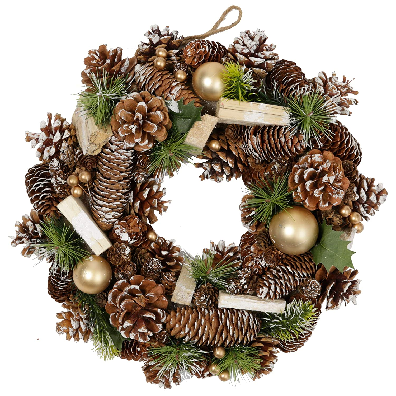 14in Olsen /& Smith 36cm Decorative Traditional Indoor Xmas Christmas Wreath with Gold Bauble Chopped Wood /& Pine Cone Decoration