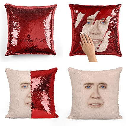 Amazon Nicolas Cage Sequin Pillow Sequin Pillowcase Two Color