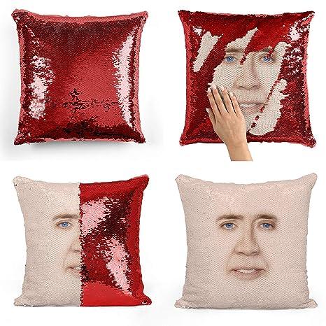 Nicolas Cage Face Sequin Pillow, Almohada, Sequin Pillowcase ...