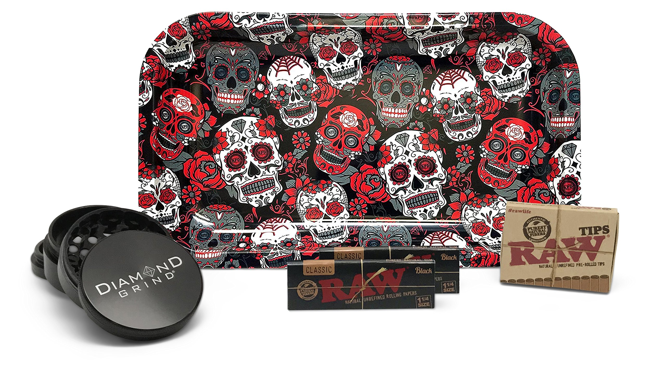 Diamond Grind 4 Piece 63mm Grinder (Black), RAW Black Natural Rolling Papers 1 1/4 (2 Packs), RAW Pre-Rolled Tips, Rolling Paper Depot Rolling Tray (Skulls) - 5 Item Bundle