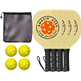Amazin' Aces Pickleball Paddles   Set Includes 4 Wood Pickleball Paddles + 4 Pickleballs + 1 Mesh Carry Bag   Great Rackets for Beginners   Pickleball Paddle Set Includes eBook w/Rules & Tips