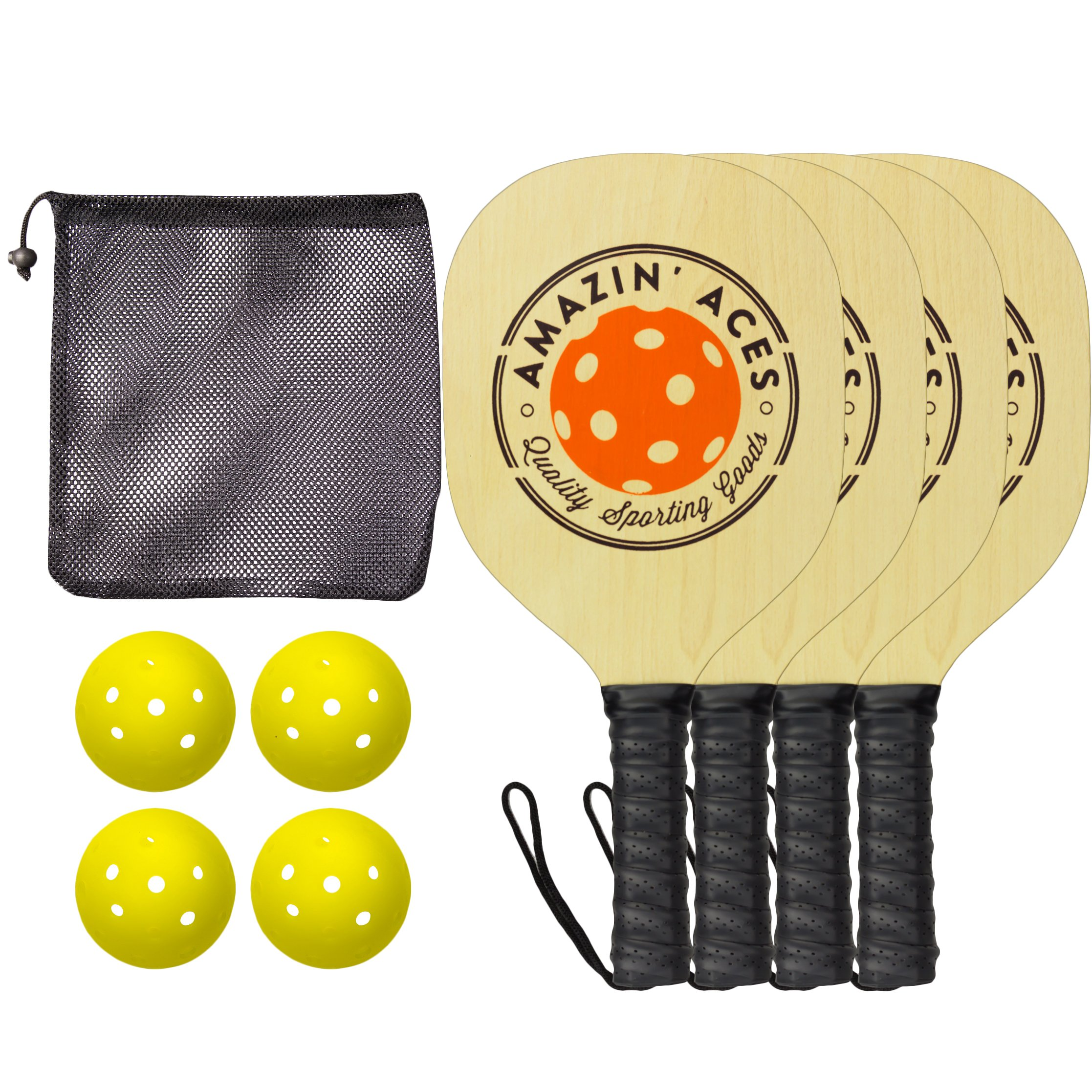 Amazin' Aces Pickleball Paddles | Set Includes 4 Wood Pickleball Paddles + 4 Pickleballs + 1 Mesh Carry Bag | Great Rackets For Beginners | Pickleball Paddle Set Includes eBook w/Rules & Tips