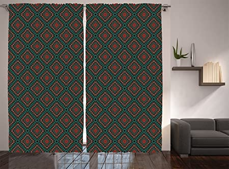 Native American Decor Curtains Ancient Border Navajo Tribal Symbol Living Room  Bedroom Decor 2 Panel Set