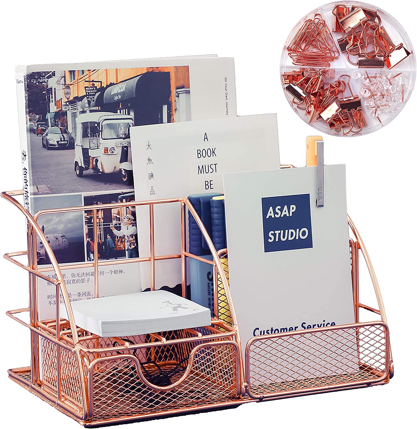 Rose Gold Desk Organizer for Women, Features 5 Compartments + 1 Mini Sliding Drawer,with Binder Clips and Paper Clips Office Supplies Set for Office School Home