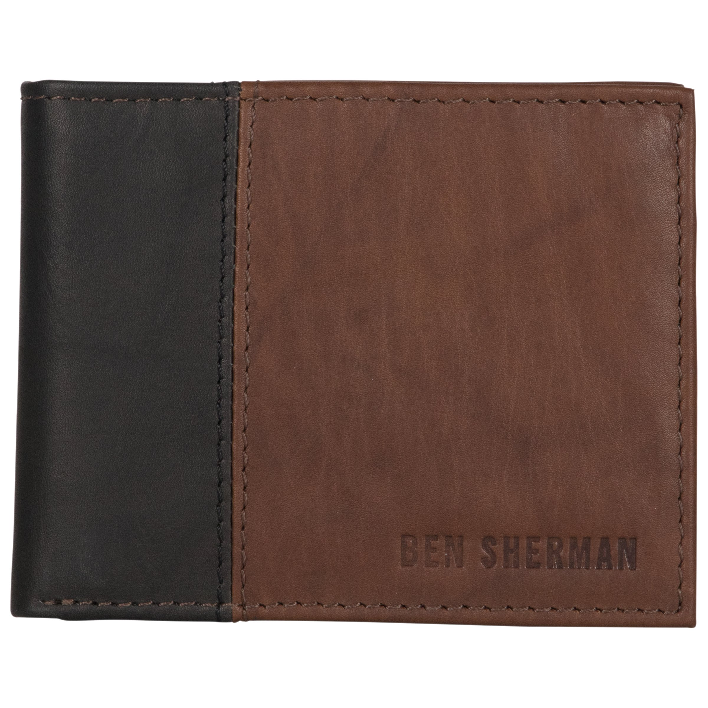 Ben Sherman Men's Leather Bi-Fold Passcase Wallet with Flip up Id Window (Rfid), Brown with Black Color Block