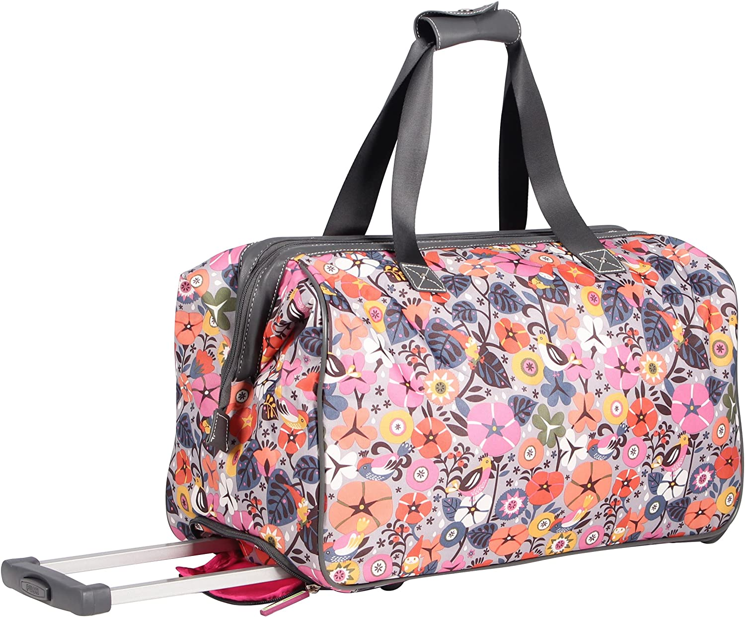 Lily Bloom Luggage Designer Pattern Suitcase Wheeled Duffel Carry On Bag 22in, Raking It In