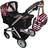 Babyboo Deluxe Doll Pram with Swiveling Wheels & Adjustable Handle and Free Carriage Bag