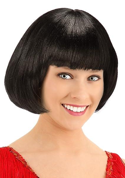 Amazon.com  Living Fiction Fun Deluxe Women s Black Flapper Hair Wig ... 3d4c997a3a