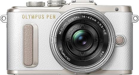 Olympus Pen E-PL8 Kit, Cámara de Sistema Micro Cuatro Tercios (16,4 MP, Estabilizador de Imagen de 5 Ejes, Visor Electrónico, FHD Vídeo) + Objetivo Mo 14-42mm EZ, Blanco/Negro