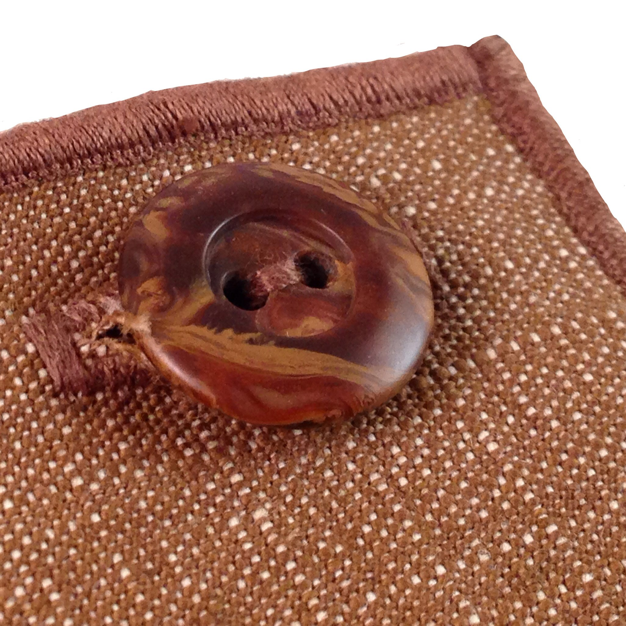 Tobacco Brown Denim with Brown Wooden Button Men's Pocket Square by The Detailed Male by The Detailed Male (Image #3)