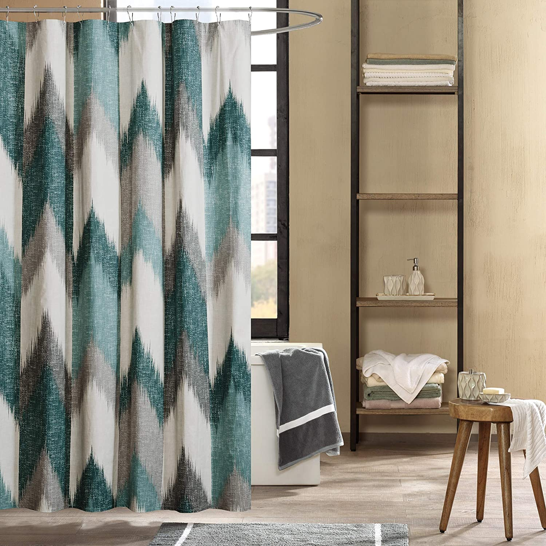Amazon Com Ink Ivy Alpine Shower Curtain Cotton Printed Modern Abstract Pattern Machine Washable Home Bathroom Decorations 72x72 Aqua Home Kitchen