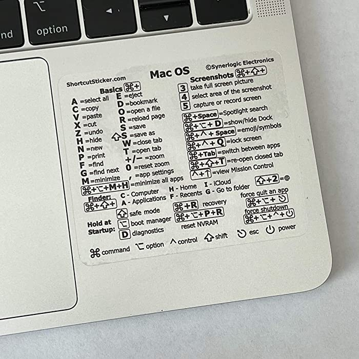 """SYNERLOGIC Mac OS (Big Sur/Catalina/Mojave) Keyboard Shortcuts, Clear Vinyl Sticker, Long-Lasting No-Residue Adhesive, Size 3""""x 2.5"""", Compatible with Any MacBook Air Pro with Intel CPU"""