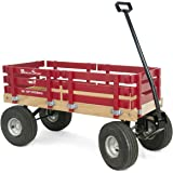 Red Wagon for Kids - Made In the USA - Hardwood & Reinforced Steel Body, Rubber Tires | No-Pinch Handle & No-Tip Steering | Berlin F410 Sport Wood Wagon