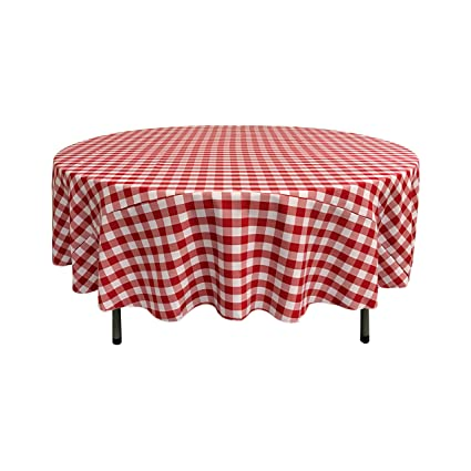 Attrayant LA Linen Poly Checkered Round Tablecloth, 72 Inch, Red/White