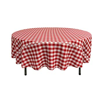LA Linen Poly Checkered Round Tablecloth, 72 Inch, Red/White