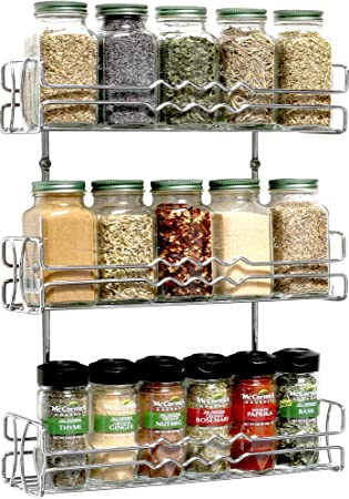 DecoBros 3 Tier Wall Mounted Spice Rack, Chrome Images