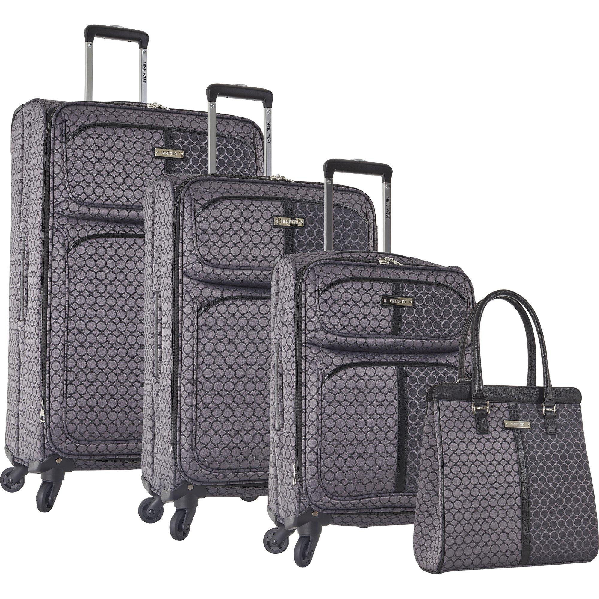 Ninewest an Adventure 4 Piece Luggage Set, Grey/Black