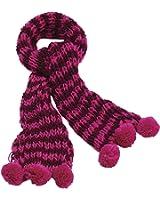 GIZZY® Ladies Knitted Fuchsia Pink Tones Striped Pom Pom Bobble Scarf.