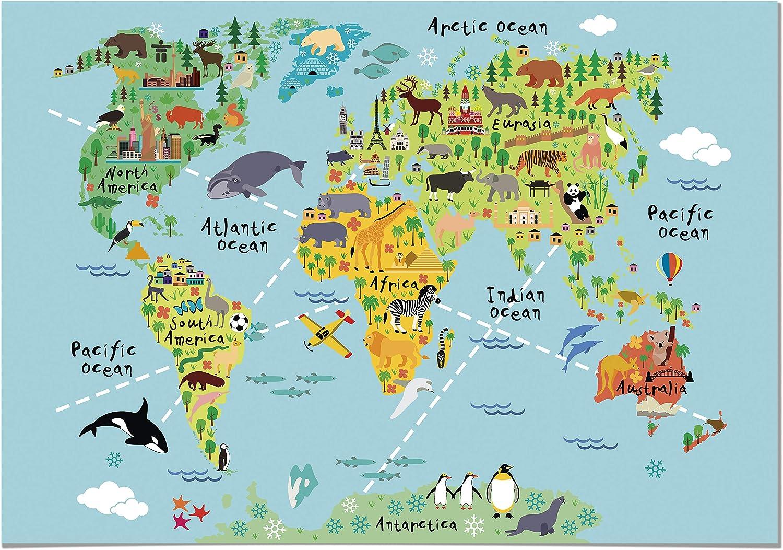 Panorama Lienzo Infantil para habitación Mapa Mundi Niños Animales 100x70cm - Impreso en Lienzo con Bastidor - Cuadros Infantiles - Cuadros para habitación bebés y niños - Decoración habitación bebé: Amazon.es: Hogar