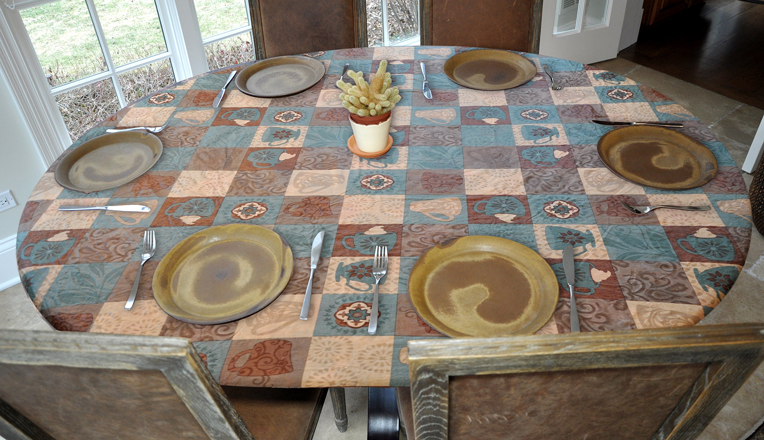 Elastic Edged Flannel Backed Vinyl Fitted Table Cover - GLOBAL COFFEE Pattern - Oblong/Oval - Fits tables up to 48'' x 68""